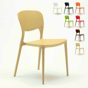 Las sillas de la cocina de la barra del apilado del polipropileno al aire libre dentro de GARDEN GIULIETTA - SG689PP, Silla apilable y duradera para exteriores