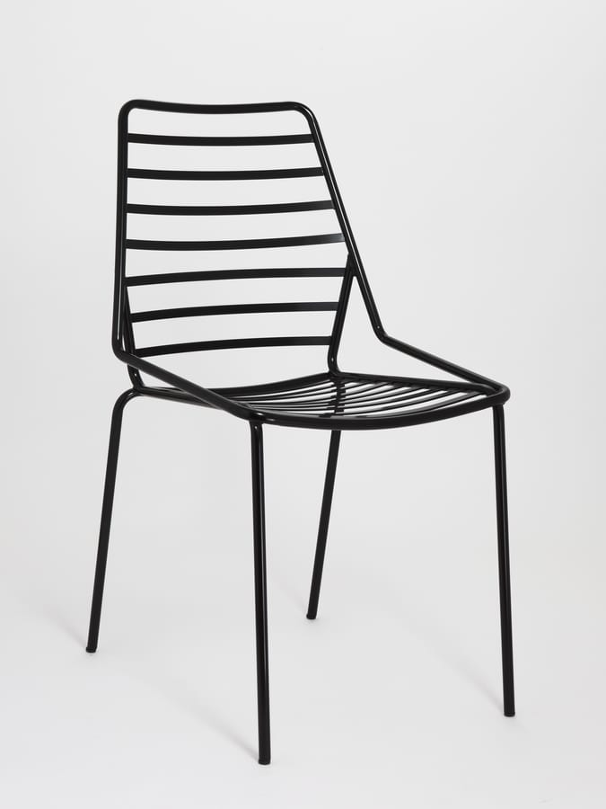 Link, Apilables silla de metal con líneas horizontales de dibujo