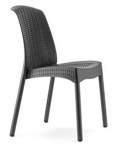 Olimpia Chair Trend, Silla apilable de technopolímero y aluminio, para jardín