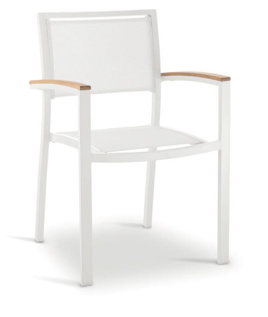 PL 465, Silla con brazos, en aluminio, madera y textileno