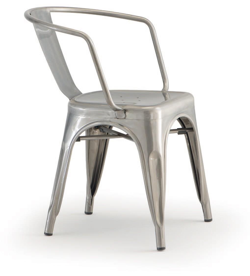 PL 500 / EST, Silla apilable con brazos, de metal pintado