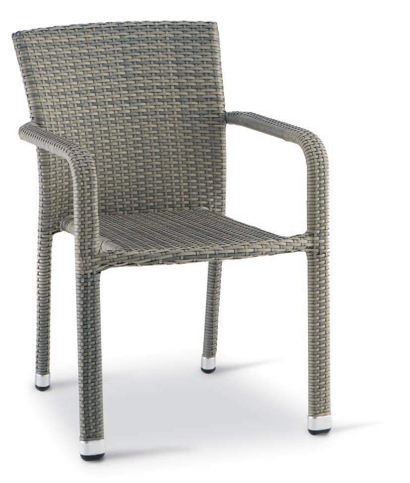 PL 730, Silla con brazos de aluminio tejida, para exteriores