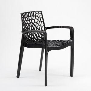 Jardín al aire libre silla apilable Gruvyer Arm – S6626B, Silla apilable con brazos, hecho de plástico brillante, para interiores y exteriores