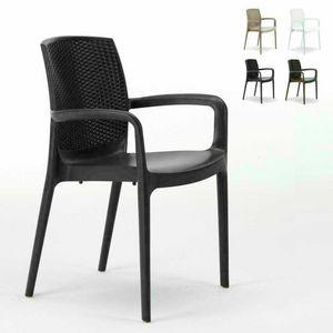Sedia impilabile con braccioli esterno rattan – S6618, Silla de resina de alta calidad, apilable, para exterior