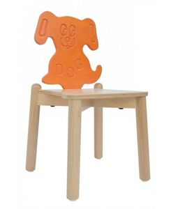 ANIMALANDIA - Dog, Silla apilable, hecho de madera de haya, abedul respaldo
