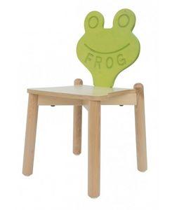 ANIMALANDIA - Frog, Silla apilable en madera de haya, ideal para habitación de los niños