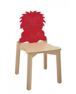ANIMALANDIA - Lion, Silla en madera de haya con respaldo original, para la escuela