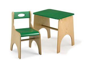 LEILA E LEILA/T, Silla y mesa para niños, hecha de madera contrachapada, para las zonas escolares y de juego