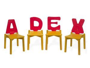 LETTERANDIA, Sillas para niños, respaldo shped como una letra del alfabeto, para las áreas de juego y jardines de infantes