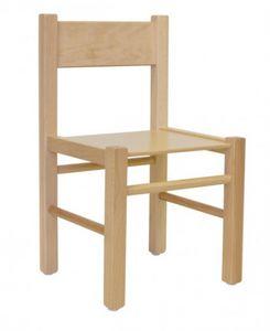 QUADRA, Silla en madera de haya, de forma sencilla, para los niños