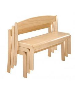 SISSI/P, Banco apilable en madera de haya, con un estilo sobrio, para los niños