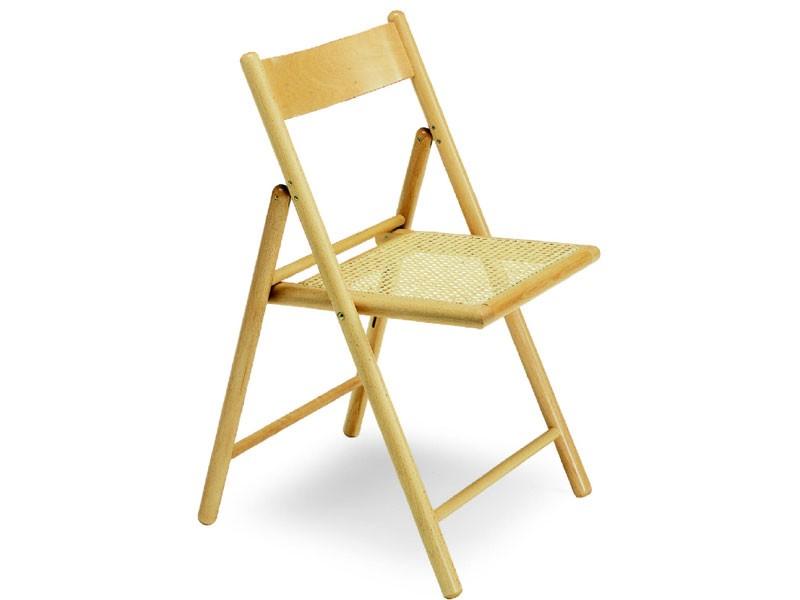 186, Silla de madera de haya, plegable, con asiento de caña de la India
