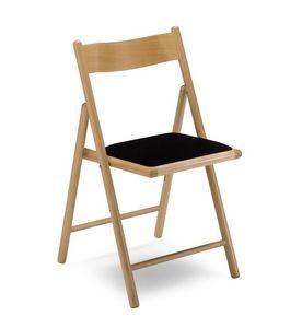 187, Silla plegable, con asiento tapizado, en madera de haya