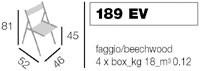 189 EV, Silla plegable, en madera de haya, para aplicaciones en exterior