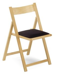193, Silla plegable en madera de haya, asiento tapizado, para ceremonias