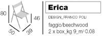 Erica, Silla plegable en madera, para el hogar y la oficina