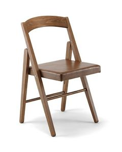 JL 11, Silla plegable en madera de haya maciza, asiento de cuero ecológico