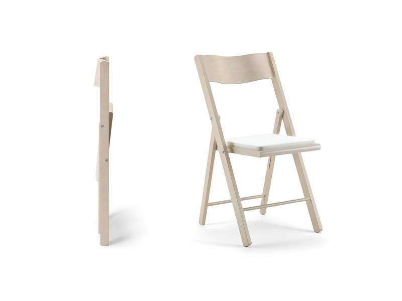 Kate, Silla plegable de madera, asiento acolchado, para eventos