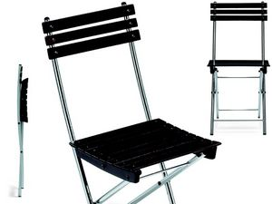 Spring, Ahorro de espacio silla, en metal y madera de haya, para el aire libre