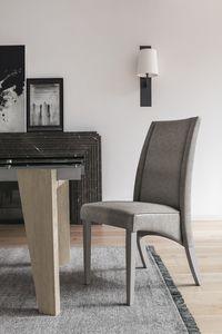 ATENE SE510, Silla de madera con respaldo alto, tapizado en tacto suave