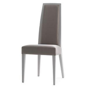 Erminio 00311, Silla en madera maciza, asiento y respaldo tapizados, revestimiento de tela, para el uso del contrato