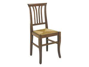 107, Rústica silla con trineos verticales, asiento de paja