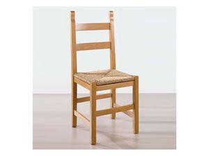 117, Silla de madera maciza, asiento de paja, de taberna