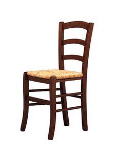 207, Silla sólida, en madera, con asiento de paja, para la fábrica de cerveza pub