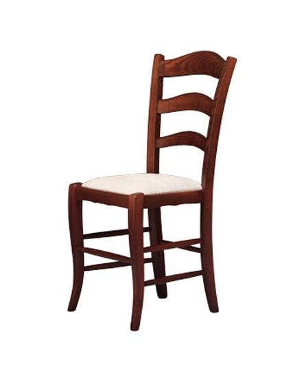 208, Silla con asiento tapizado, realizado en estilo rústico