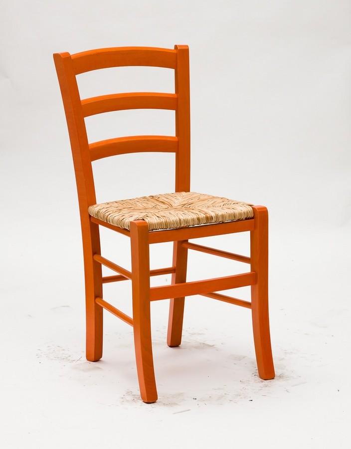 Art. 058 Nature, Rústica silla de madera teñida, asiento de paja de arroz
