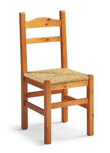 Mabel, Silla rústica en madera, asiento de paja tejida
