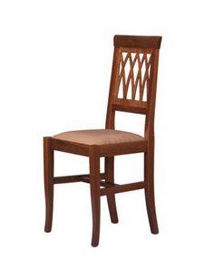 R01, Silla rústica en madera de haya, asiento tapizado