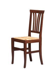R04, Silla rústica en madera de haya, asiento de paja