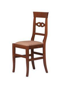 R09, Silla rústica en madera de haya, asiento tapizado