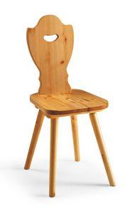 S/102 silla de Baviera, Silla rústica en pino macizo, para chalet de montaña