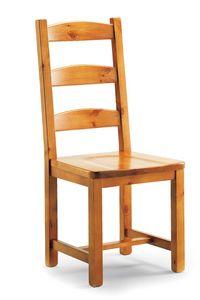 S/147 L Silvia silla, Silla rústica con listones horizontales, en pino macizo