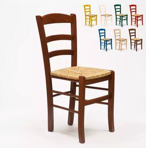 Silla de madera y asiento de paja para cocina bar y posada Paesana SP001, Silla rústica, asiento de paja