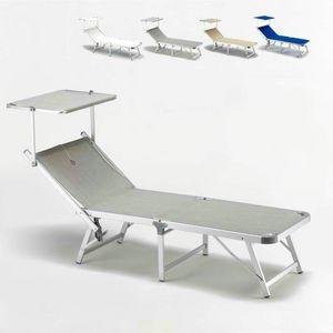 Tumbona Gabicce - GA800TEX, Tumbona de playa cubierta de tela con estructura de aluminio
