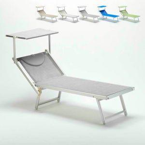 Tumbona profesional Italia – IT100TEX, Tumbona de playa con toldo para las playas, piscinas y hoteles
