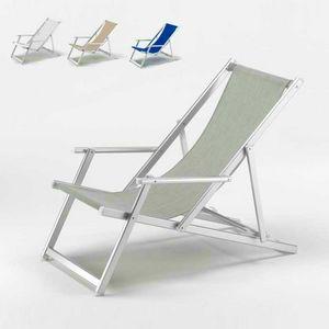 Tumbona piscina Riccione – RI800LUX, Tumbona con apoyabrazos y respaldo reclinable, resistente al desgarro