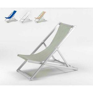 Silla de playa de aluminio del mar Riccione - RI800TEX, Tumbona plegable con respaldo reclinable, fácil de lavar