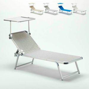 Tumbona de aluminio para playa con techo corredizo ajustable NETTUNO - NE800TEX, Cuna de playa con techo ajustable