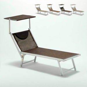 Tumbona solarium playa de aluminio Santorini Limited Edition - SA800TEXL, Cama de mar en aluminio y tela