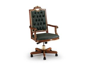 CARLO MAGNO office 8089A, Silla de oficina de lujo hecha de cuero, respaldo acolchado