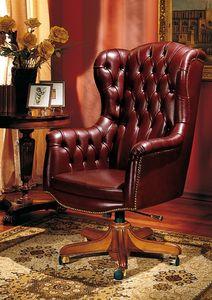 IMPERO / HOME OFFICE Armchair President, Silla clásica oficina, en cuero, con ruedas