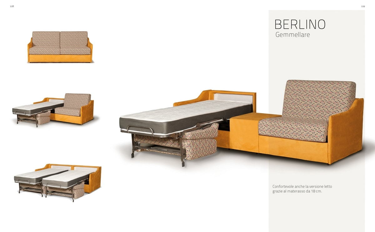 Berlino Gemellare, Sofá transformable en dos camas individuales