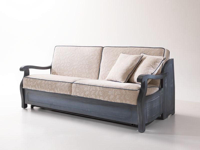 Sofá cama rústica, con marco de madera, de estilo provenzal | IDFdesign