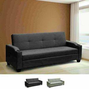 Contenedor y bolsillos de respaldo para sofá de cuero sintético reclinable con sofá cama AMBRA Pronto Letto, Sofá cama con bolsillos de periódico
