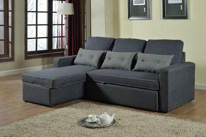Sofá cama de esquina de 3 plazas con cojines para sala de estar SMERALDO - SADIZ712TEGS, Sofá cama de esquina