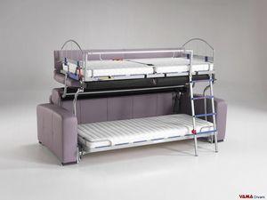 Sofá cama litera, Sofá litera de 3 plazas con mecanismo Made in Italy